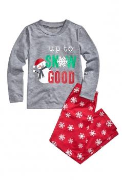 Kids Snowman Snowflake Printed Christmas Family Pajama Set Dark Gray