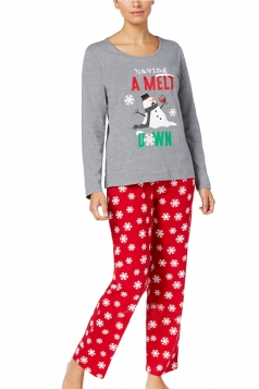 Women Snowman Snowflake Printed Christmas Family Pajama Set Light Gray