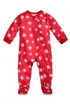 Baby Long Sleeve Snowflake Printed Christmas Family Footie Pajama Red