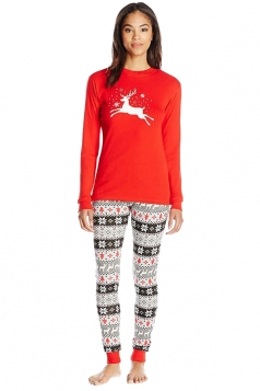 Womens Crew Neck Reindeer Snowflake Printed Christmas Pajama Set Red