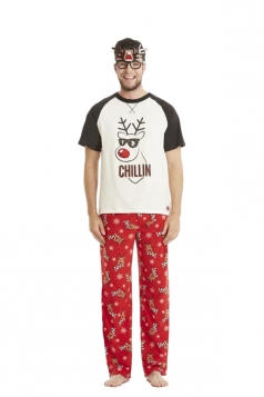 Mens Reindeer And Snowflake Printed Christmas Family Pajama Set Black