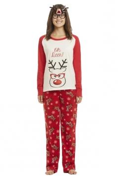Womens Reindeer And Snowflake Printed Christmas Family Pajama Set Red