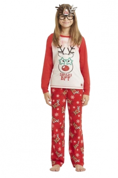 Kids Reindeer And Snowflake Printed Christmas Family Pajama Set White