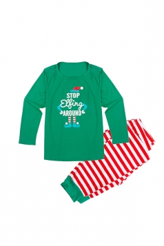 Mens Crew Neck Santa Stripe Printed Christmas Family Pajama Set Green