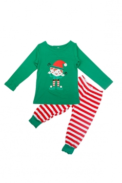 Kids Santa Stripe Printed Christmas Family Pajama Set Light Green