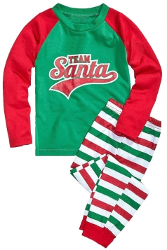 Kids Stripe Santa Printed Christmas Family Pajama Set Light Green
