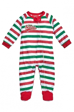 Baby Stripe Santa Printed Christmas Family Footie Pajama Ruby