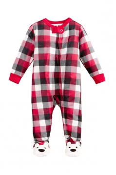 Baby Plaid Bear Printed Family Christmas Footie Pajama Dark Red