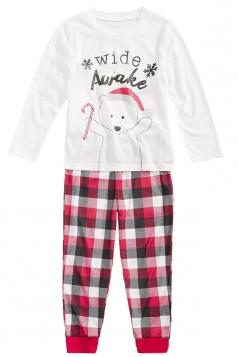 Kids Plaid Bear Snowflake Printed Family Christmas Pajama Set Red