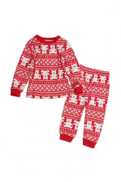 Kids Crew Neck Bear Printed Family Christmas Pajama Set Dark Red