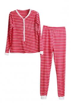 Womens V-Neck Long Sleeve Striped Family Christmas Pajama Set Red