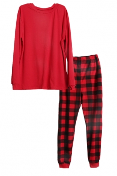Mens Crew Neck Plaid Pattern Family Christmas Pajama Set Ruby