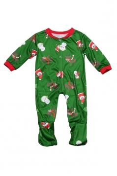 Boys Snowman Reindeer Printed Family Christmas Onesie Pajama Green