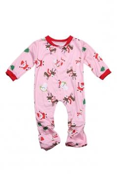 Girls Snowman Reindeer Printed Family Christmas Onesie Pajama Pink
