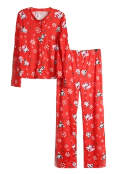 Womens Snowflake Printed Long Sleeve Family Christmas Pajama Set Red