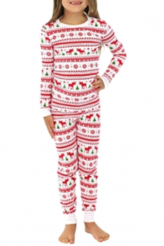 Girl Snowflake Reindeer Printed Family Christmas Pajama Set Light Pink
