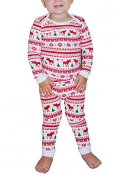 Boy Snowflake Reindeer Printed Family Christmas Pajama Set Beige White
