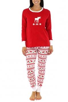 Womens Snowflake Reindeer Printed Family Christmas Pajama Set Dark Red