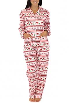 Womens Snowflake Reindeer Printed Family Christmas Pajama Set Pink