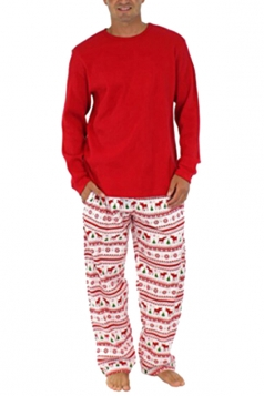 Mens Snowflake Reindeer Printed Family Christmas Pajama Set Red