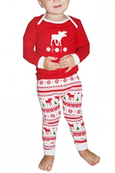Boys Reindeer Printed Family Christmas Pajama Set Watermelon Red