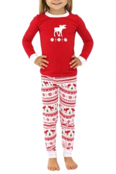 Girls Snowflake Reindeer Printed Family Christmas Pajama Set Ruby