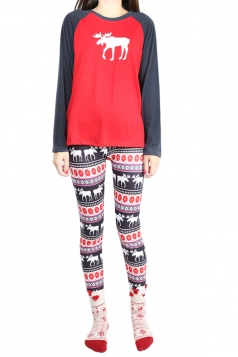 Womens Crew Neck Reindeer Printed Pullover Christmas Pajama Set Ruby