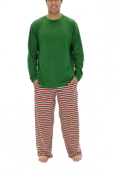 Mens Long Sleeve Stripe Snowflake Printed Christmas Pajama Set Green