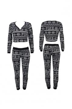 Womens V-Neck Crop Top Snowflake Printed Christmas Long Pajama Black