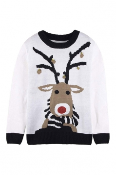 Womens Small Bell Reindeer Printed Ugly Christmas Sweater White
