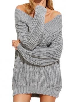 Womens Sexy Off Shoulder V-Neck Long Sleeve Plain Sweater Dress Gray