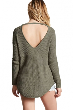Womens Sexy Halter Backless Long Sleeve Pullover Sweater Army Green