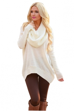Womens Oversized Cowl Neck High Low Hem Plain Pullover Sweater White