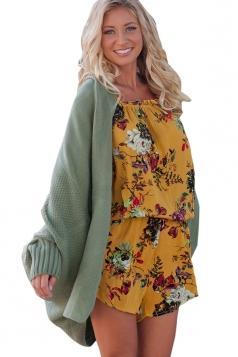 Womens Oversized Batwing Sleeve Turndown Collar Plain Cardigan Green