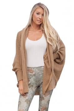 Womens Oversized Batwing Sleeve Turndown Collar Plain Cardigan Khaki