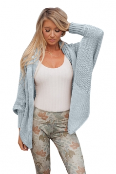 Womens Oversized Batwing Sleeve Turndown Collar Cardigan Light Blue