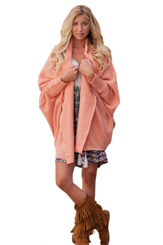 Womens Oversized Batwing Sleeve Turndown Collar Plain Cardigan Pink
