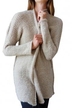 Womens Trendy Long Sleeve Midi Length Plain Cardigan Apricot