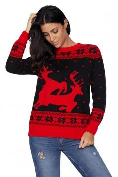 Womens Crew Neck Christmas Reindeer Printed Fair Isle Sweater Black