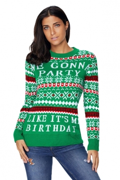 Womens Long Sleeve Christmas Snowflake Printed Fair Isle Sweater Green