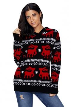 Womens Hooded V-Neck Reindeer Printed Christmas Sweater Black