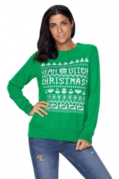 Womens Long Sleeve Crew Neck Snowflake Printed Christmas Sweater Green