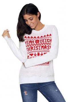Womens Long Sleeve Crew Neck Snowflake Printed Christmas Sweater White