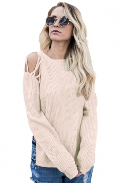 Womens Sexy Cold Shoulder Lace Up Side Slit Pullover Sweater Apricot