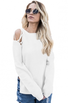 Womens Sexy Cold Shoulder Lace Up Side Slit Pullover Sweater White
