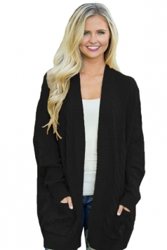 Womens Pockets Long Sleeve Fisherman Sweater Plain Cardigan Black