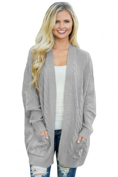 Womens Pockets Long Sleeve Fisherman Sweater Plain Cardigan Gray