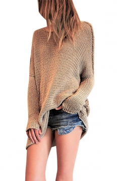 Womens Round Neck Long Sleeve Ribbed Knit Plain Pullover Sweater Camel