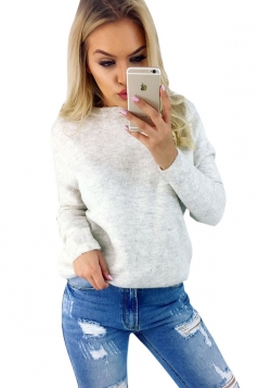 Sexy Long Sleeve Cut Out Reversible Plain Pullover Sweater Beige White