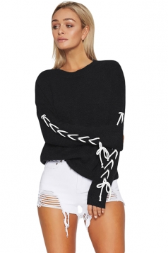 Womens Round Neck Cross Lace Up Sleeve Plain Pullover Sweater Black